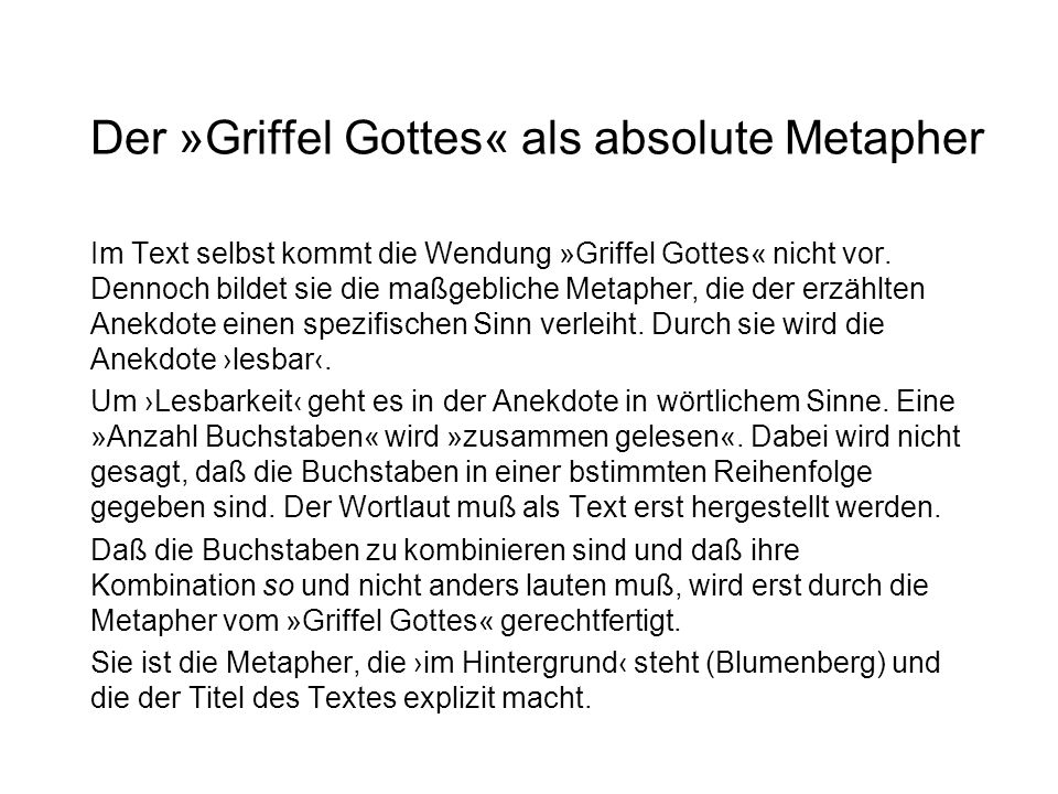 Der »Griffel Gottes« als absolute Metapher