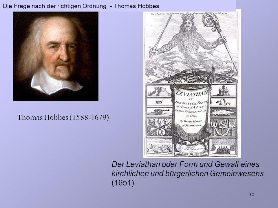 Die Frage nach der richtigen Ordnung - Thomas Hobbes