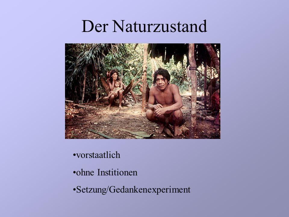 Der Naturzustand vorstaatlich ohne Institionen