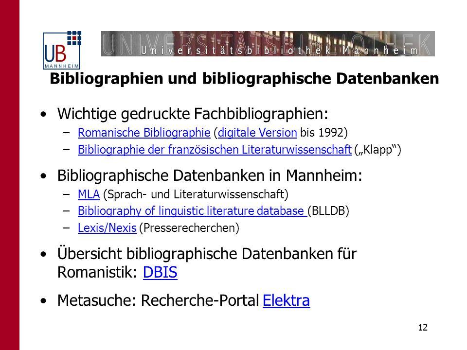 Bibliographien und bibliographische Datenbanken