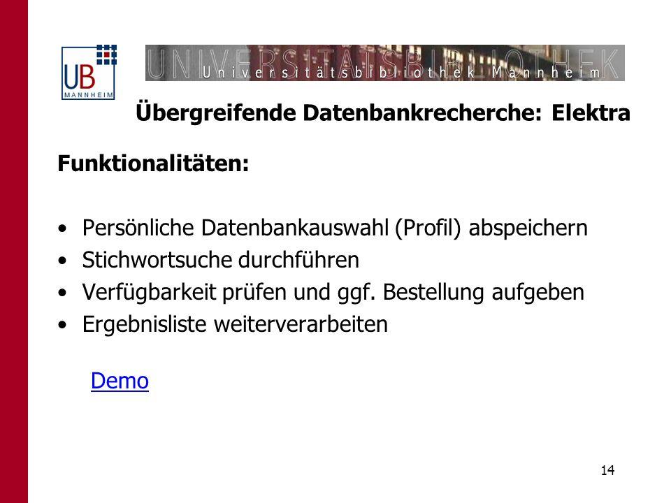 Übergreifende Datenbankrecherche: Elektra