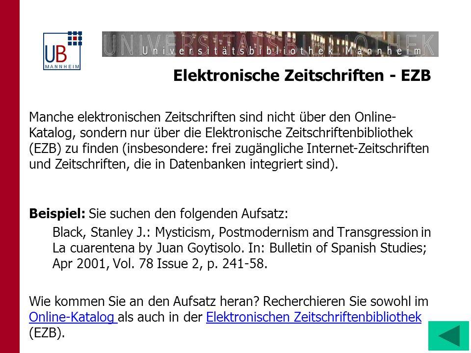 Elektronische Zeitschriften - EZB