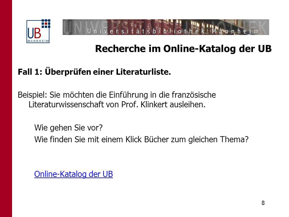 Recherche im Online-Katalog der UB