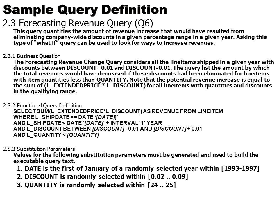 Sample Query Definition