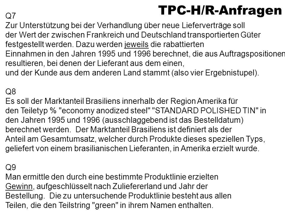 TPC-H/R-Anfragen Q7. Zur Unterstützung bei der Verhandlung über neue Lieferverträge soll.
