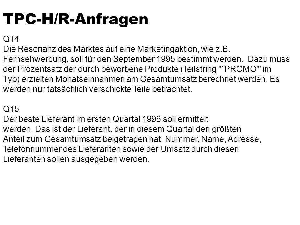 TPC-H/R-Anfragen Q14. Die Resonanz des Marktes auf eine Marketingaktion, wie z.B.