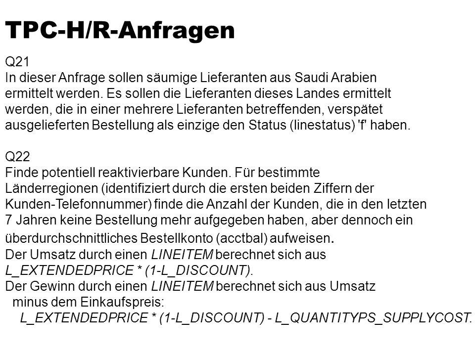 TPC-H/R-Anfragen Q21. In dieser Anfrage sollen säumige Lieferanten aus Saudi Arabien.