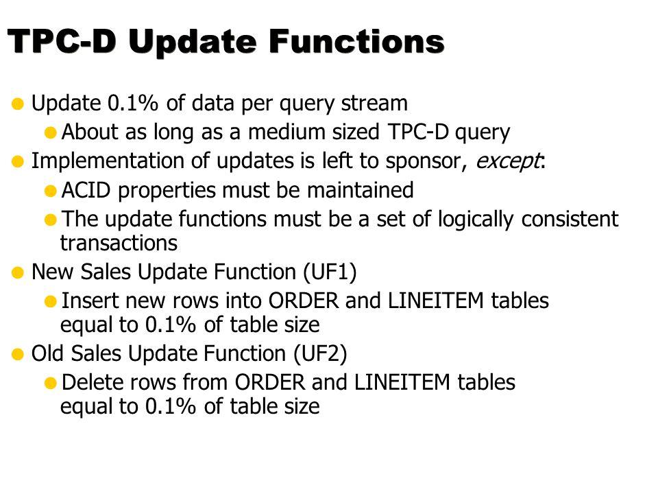 TPC-D Update Functions