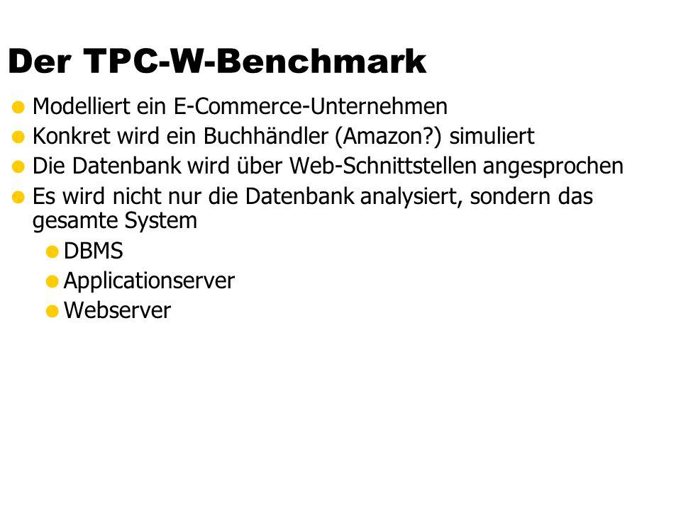 Der TPC-W-Benchmark Modelliert ein E-Commerce-Unternehmen