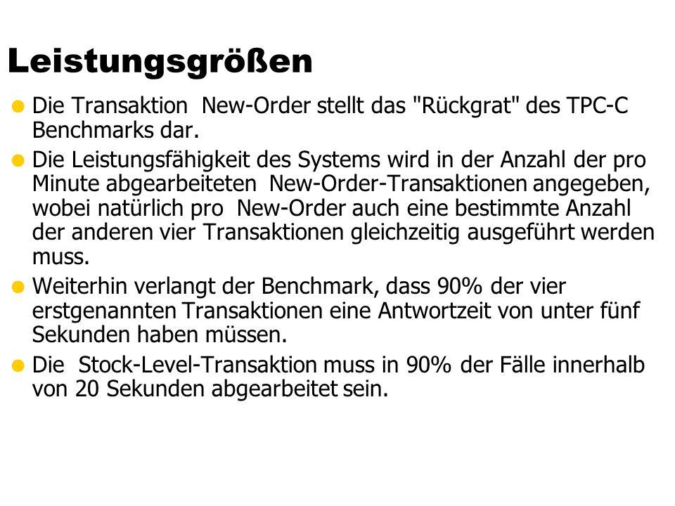 Leistungsgrößen Die Transaktion New-Order stellt das Rückgrat des TPC-C Benchmarks dar.