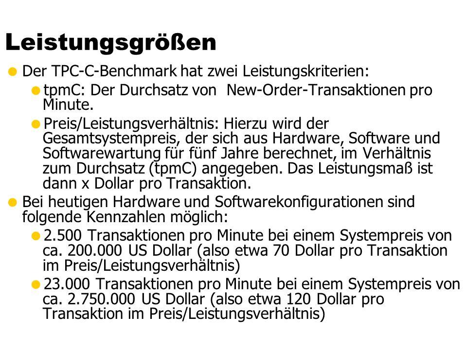 Leistungsgrößen Der TPC-C-Benchmark hat zwei Leistungskriterien: