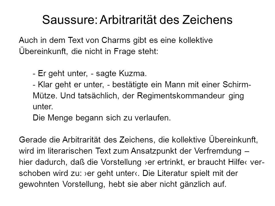 Saussure: Arbitrarität des Zeichens