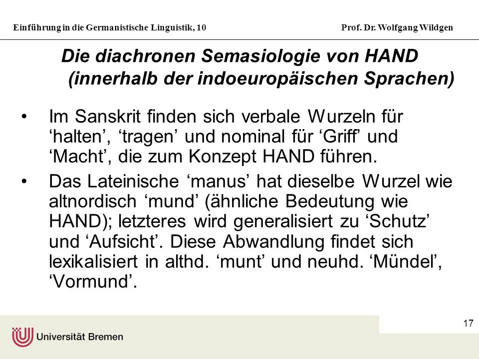 Die diachronen Semasiologie von HAND (innerhalb der indoeuropäischen Sprachen)
