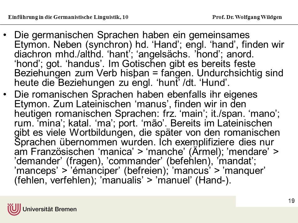 Die germanischen Sprachen haben ein gemeinsames Etymon