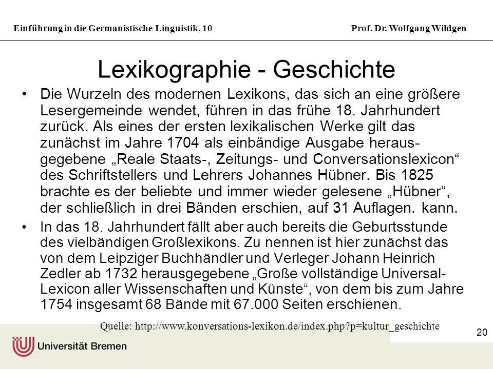 Lexikographie - Geschichte