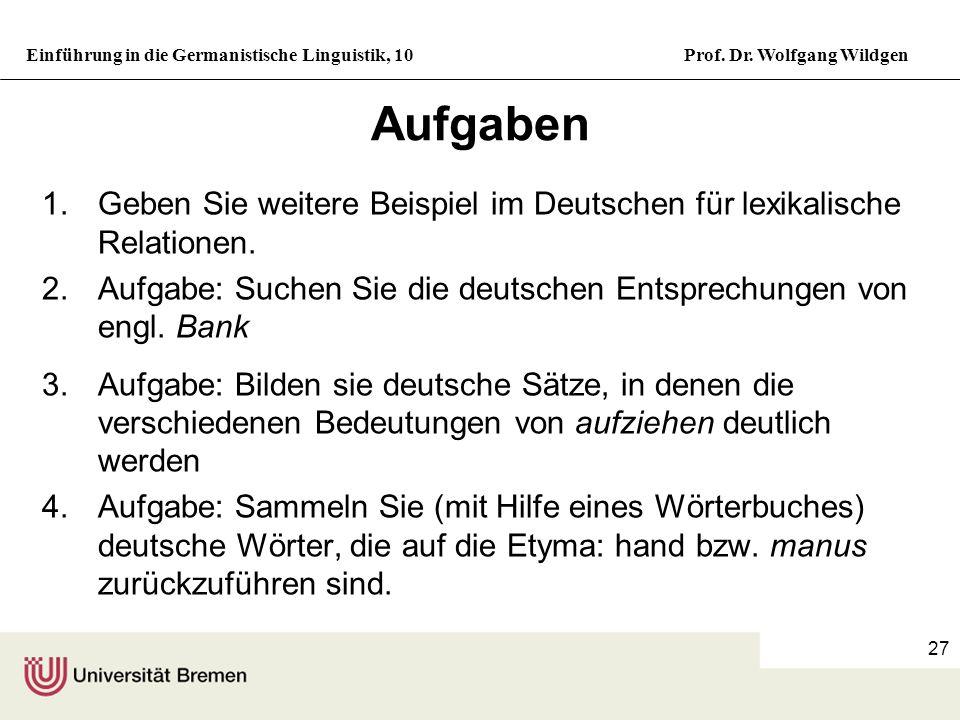 Aufgaben Geben Sie weitere Beispiel im Deutschen für lexikalische Relationen. Aufgabe: Suchen Sie die deutschen Entsprechungen von engl. Bank.