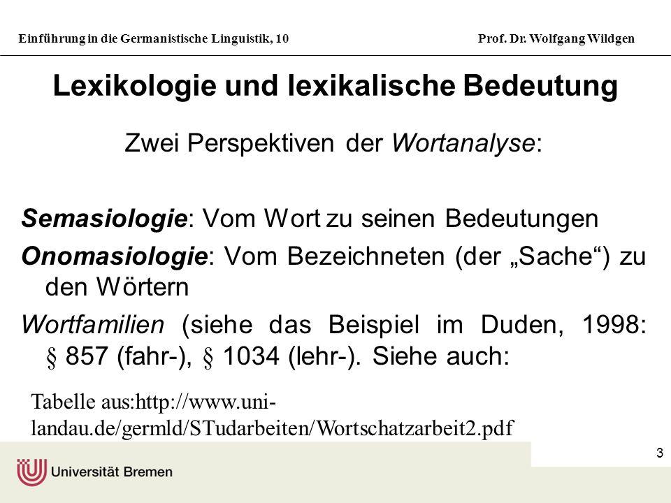 Lexikologie und lexikalische Bedeutung