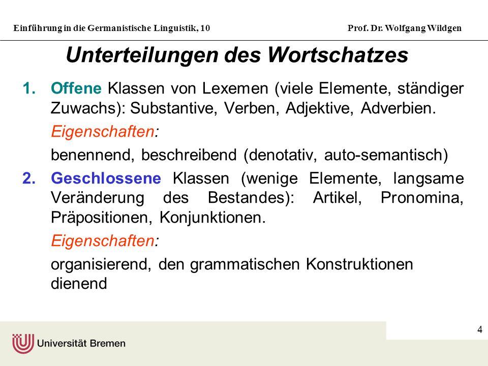 Unterteilungen des Wortschatzes