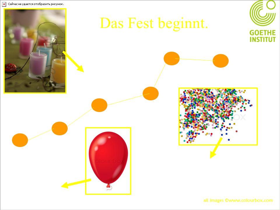 Das Fest beginnt. Die Kerze Das Konfetti Der Luftballon