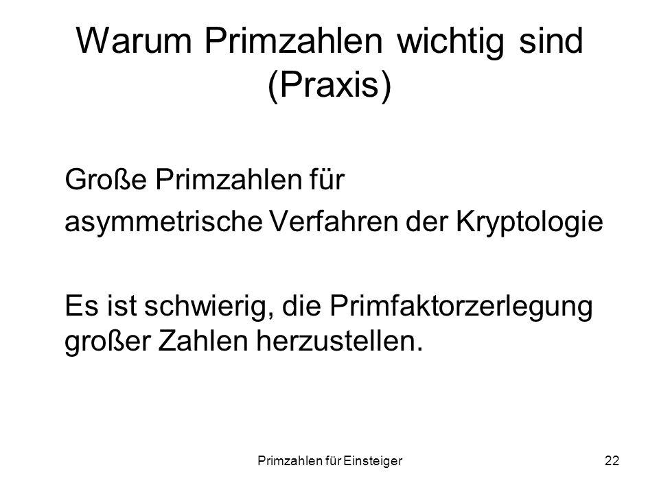 Warum Primzahlen wichtig sind (Praxis)