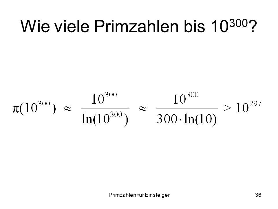 Wie viele Primzahlen bis 10300