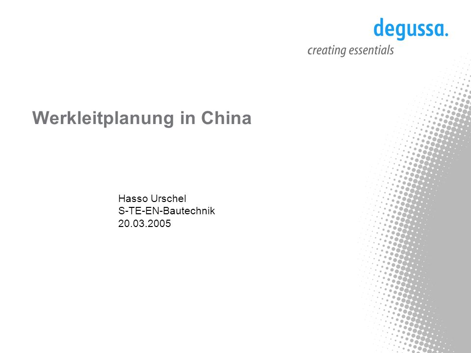 Werkleitplanung in China