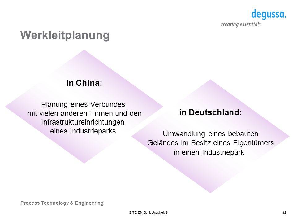 Werkleitplanung in China: in Deutschland: Planung eines Verbundes