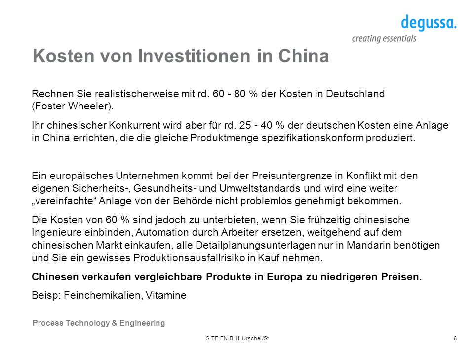 Kosten von Investitionen in China