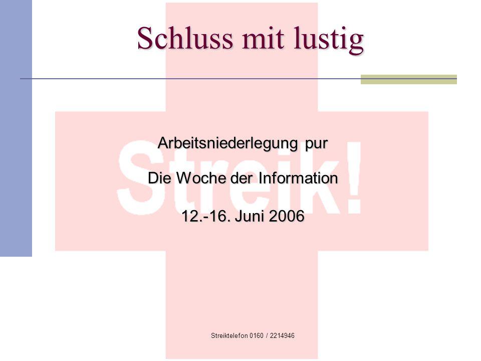 Arbeitsniederlegung pur Die Woche der Information 12.-16. Juni 2006