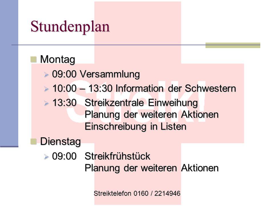 Stundenplan Montag Dienstag 09:00 Versammlung