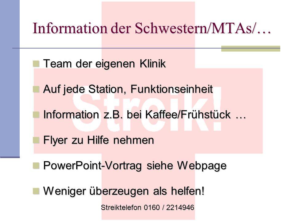 Information der Schwestern/MTAs/…