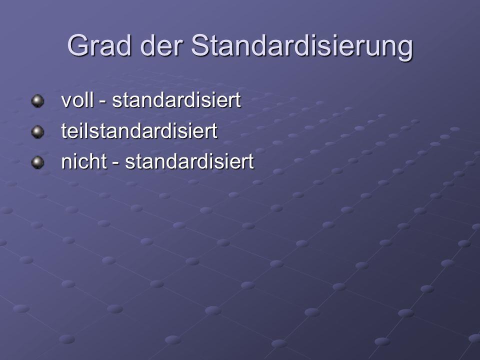 Grad der Standardisierung