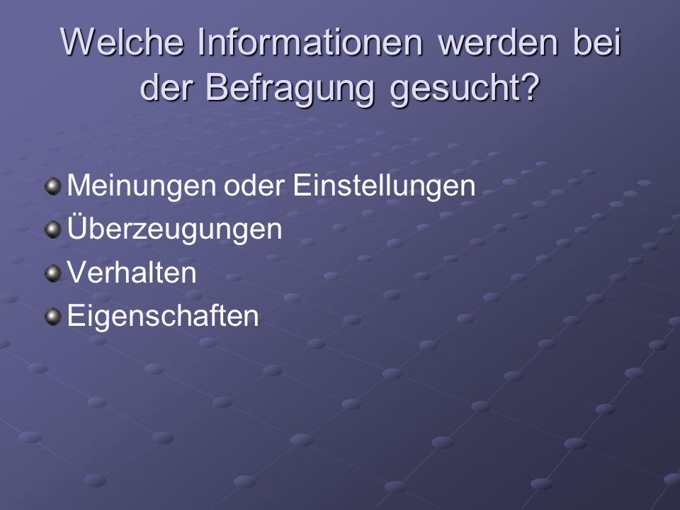 Welche Informationen werden bei der Befragung gesucht