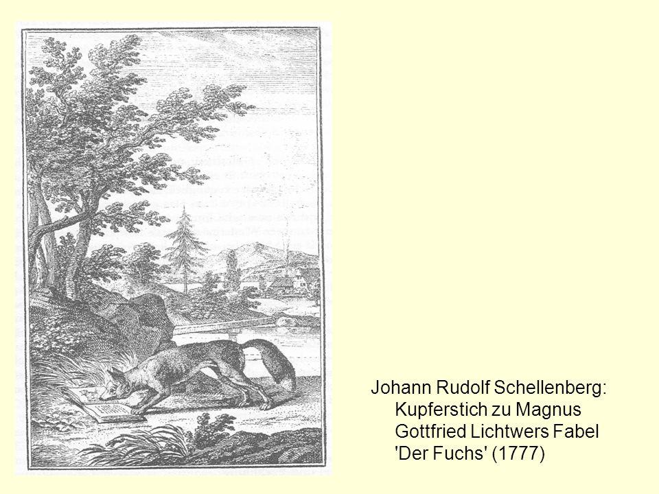 Johann Rudolf Schellenberg: Kupferstich zu Magnus Gottfried Lichtwers Fabel Der Fuchs (1777)