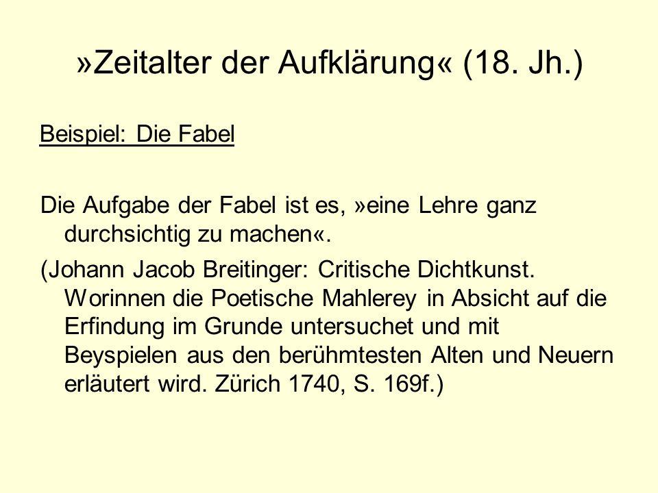 »Zeitalter der Aufklärung« (18. Jh.)