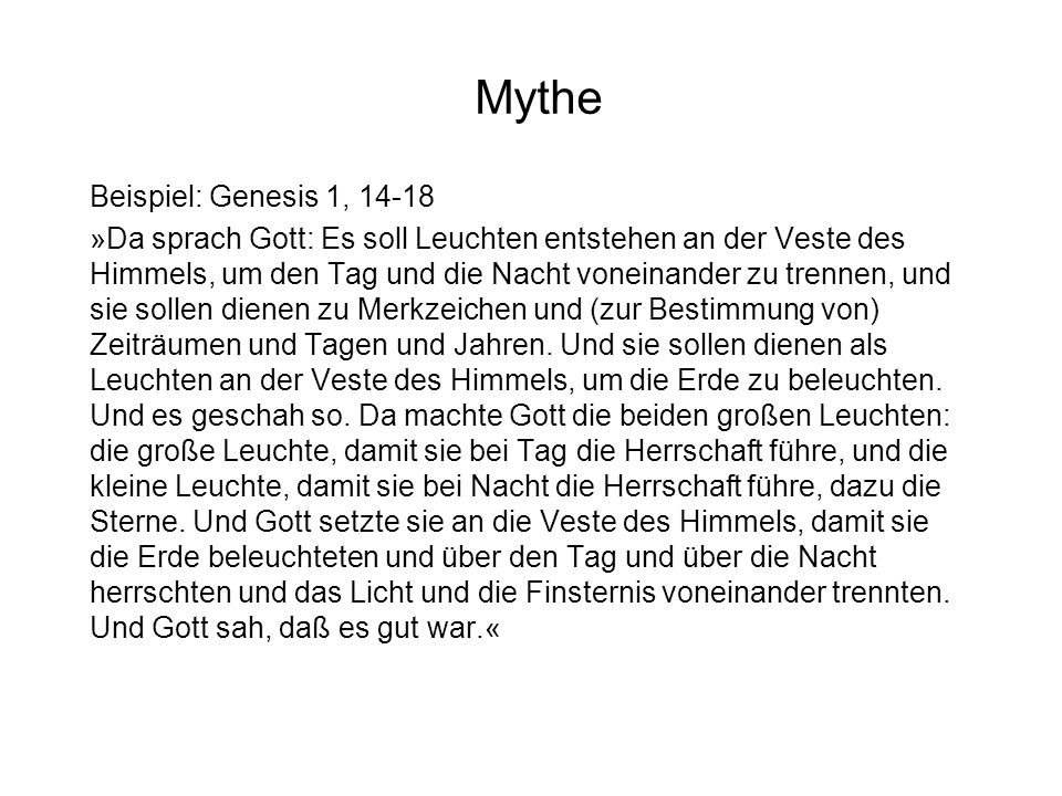 Mythe Beispiel: Genesis 1, 14-18