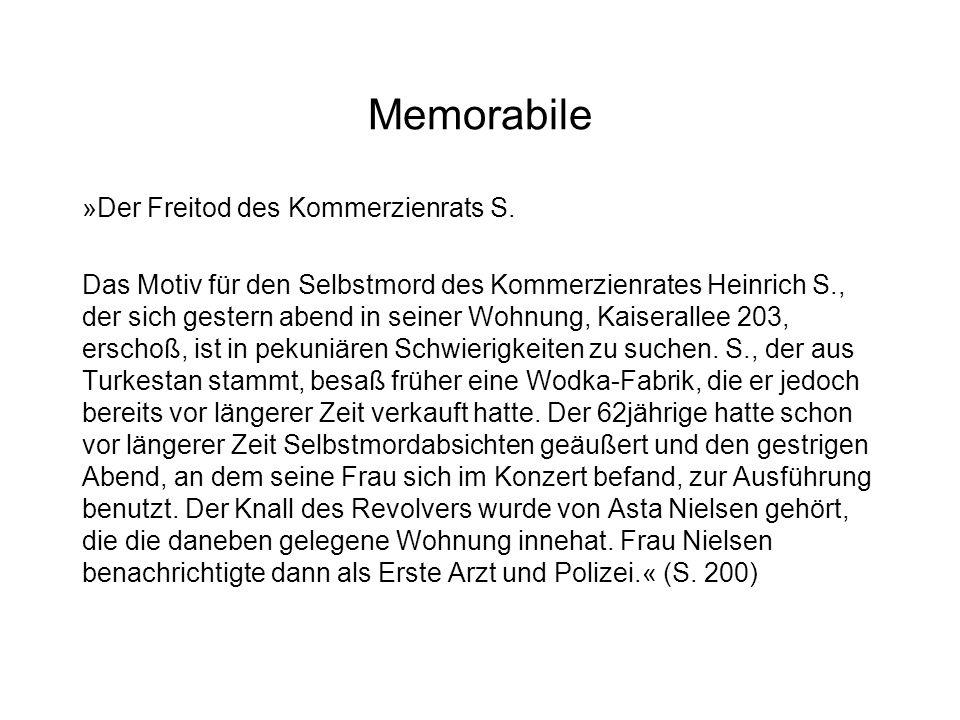 Memorabile »Der Freitod des Kommerzienrats S.