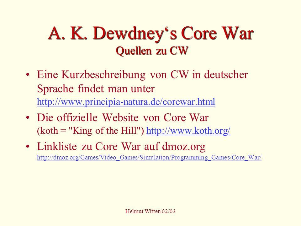 A. K. Dewdney's Core War Quellen zu CW
