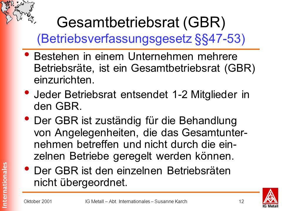 Gesamtbetriebsrat (GBR) (Betriebsverfassungsgesetz §§47-53)