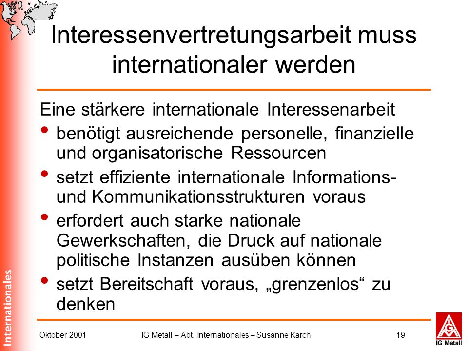 Interessenvertretungsarbeit muss internationaler werden