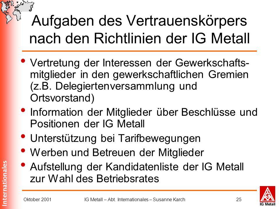 Aufgaben des Vertrauenskörpers nach den Richtlinien der IG Metall