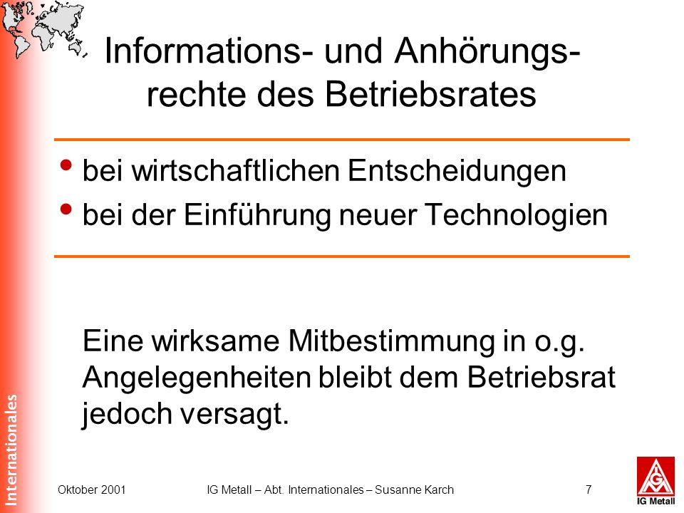 Informations- und Anhörungs-rechte des Betriebsrates