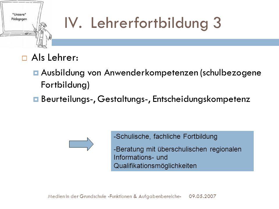 Lehrerfortbildung 3 Als Lehrer: