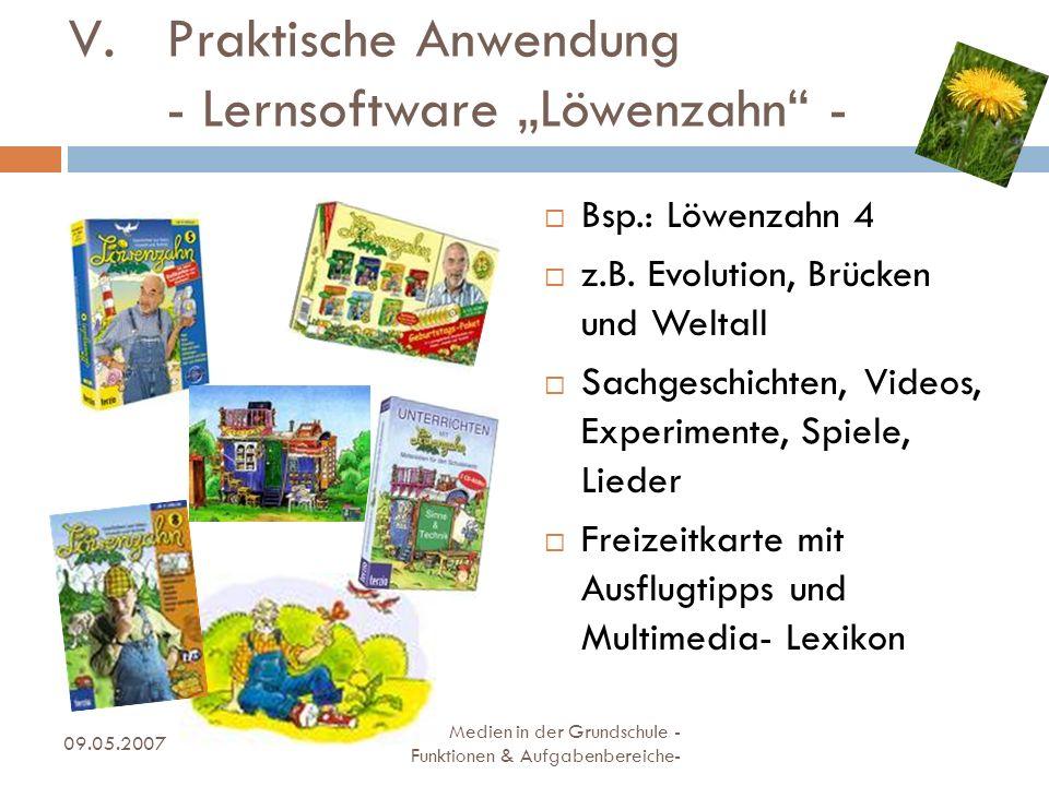 """Praktische Anwendung - Lernsoftware """"Löwenzahn -"""