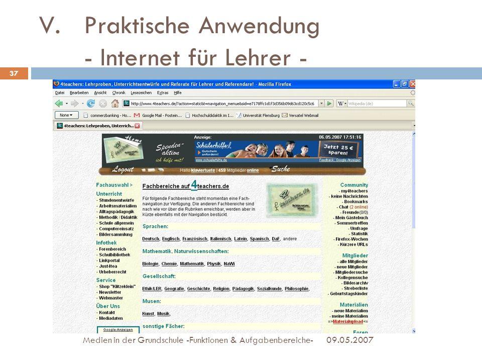 Praktische Anwendung - Internet für Lehrer -