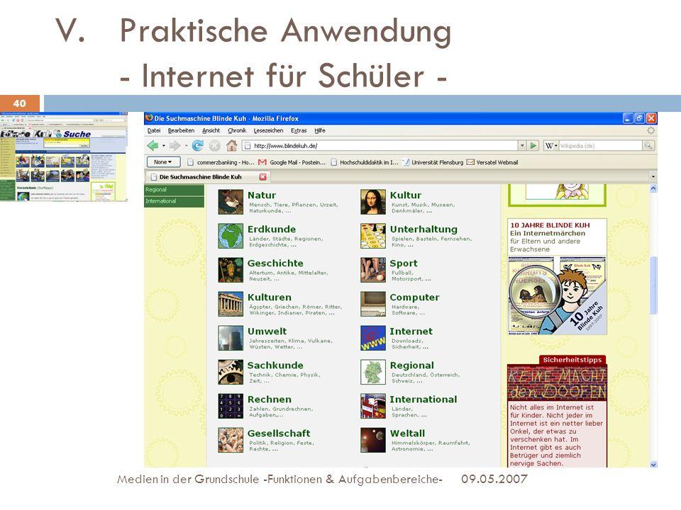 Praktische Anwendung - Internet für Schüler -