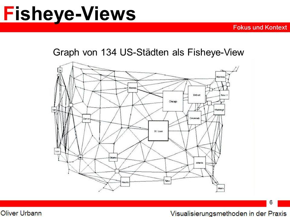 Graph von 134 US-Städten als Fisheye-View