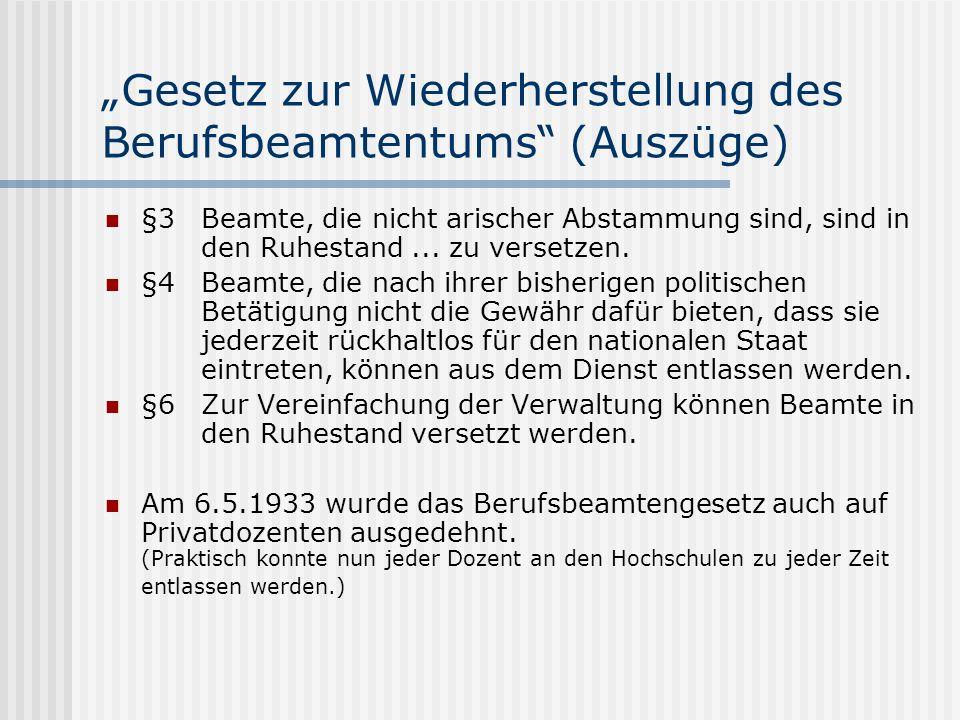 """""""Gesetz zur Wiederherstellung des Berufsbeamtentums (Auszüge)"""
