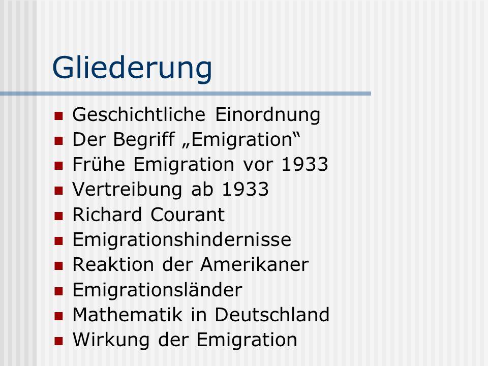 """Gliederung Geschichtliche Einordnung Der Begriff """"Emigration"""