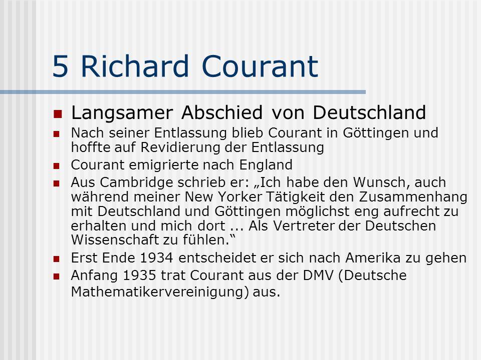 5 Richard Courant Langsamer Abschied von Deutschland